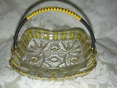 Antique Walther Glass Basket w/ Hinge Handle Citrine Yellow & Clear  Depression