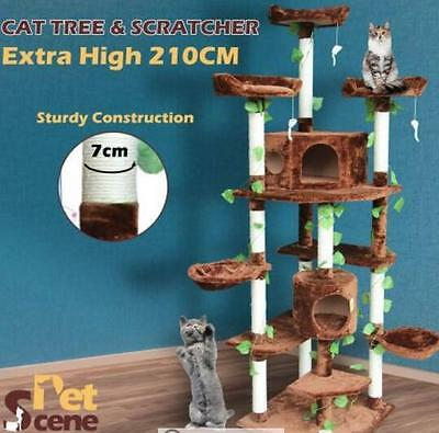 2.1M All In One Multi-Level Cat Scratching Post Climbing Tree-Extra Large-Brown