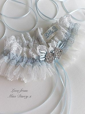 Bridal Garter Wedding Ivory Blue Personalised Diamante Love From Miss Darcy Hen