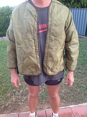 US AUS Army Surplus Military M65 Field Jacket Quilted OD Green Coat Liner LARGE