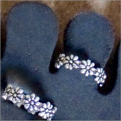 New Toe Ring Sterling Silver 925 Adjustable Band Flower Design Beach Fashion