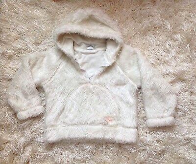 Next Girl's Fur Hooded Jacket, Age 7 Years, Excellent Condition.