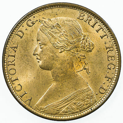 Great Britain, Victoria Halfpenny, High Grade With Lustre, 1863