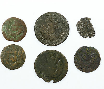 Scotland, Collection Of 6 Earlier Coins, Bawbee Turner Etc, 17Th Century