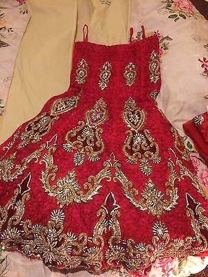 Indian Bridal Wedding Lengha Red Net Pink Thread With Gold & Silver Embroidery
