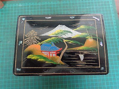 Vintage laquered MUSIC BOX, working condition, painted  Asian design