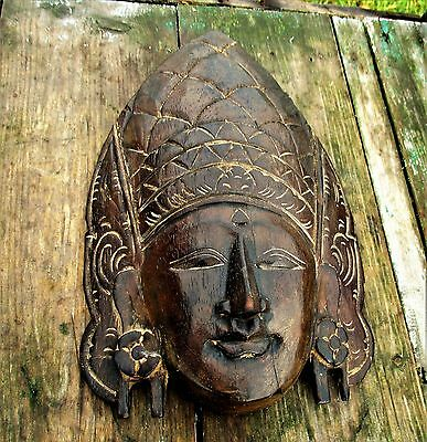 hand Carved Wooden Mask Sculpture Asian Wall Art Folk art