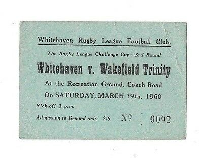 1960 - Whitehaven v Wakefield Trinity, Challenge Cup 3rd Round Match Ticket.