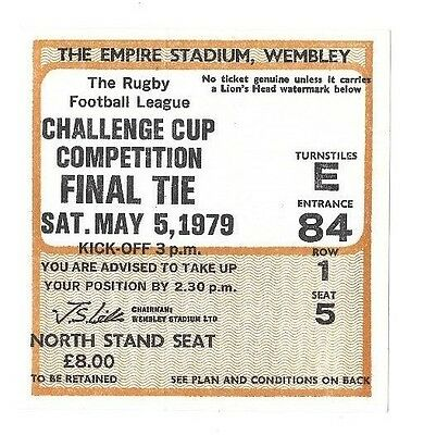 1979 - Wakefield Trinity v Widnes, Challenge Cup Final Match Ticket.