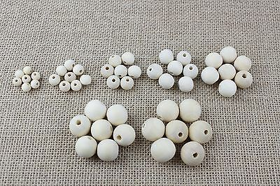 Various Sizes Of Plain Unfinished Wooden Beads - Craft, Jewellery Making 6-20mm