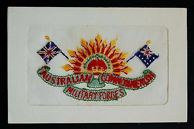 WW1 Silk Postcard Australian Commonwealth Military Forces Rising Sun Badge