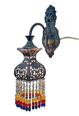 BR387 Antique Moroccan / Oriental Style Color Beads Arm Wall Decor Sconce