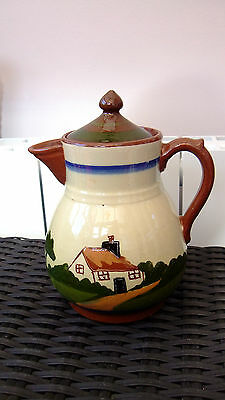 Decorative & Collectable Longpark Torquay Ware Motto  Pottery Teapot c 1930s