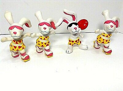 "Vtg=1989=Hardee's=""beach Bunnies""-Lot Of 4=Pvc Figures=1-Frisbee & 3-Roller Skat"