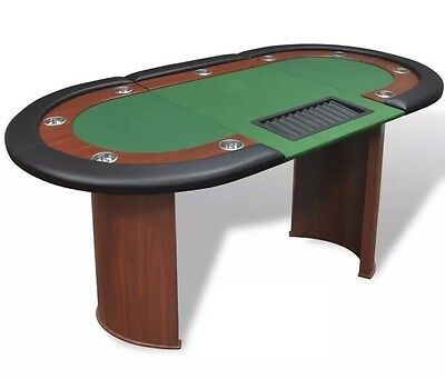 Poker Table Texas Holdem Casino Cards Game Players Hold 'em Green 10 Seats Chips