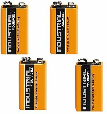 4 x DURACELL INDUSTRIAL 9v PP3 MN1604 BLOCK ALKALINE BATTERIES REPLACES PROCELL