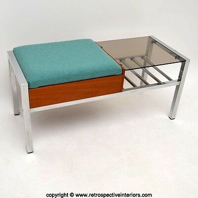 RETRO TEAK & CHROME SIDE TABLE / TELEPHONE BENCH VINTAGE 1960's
