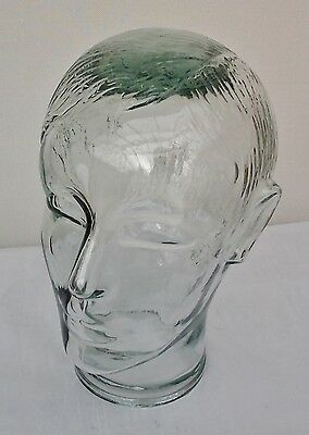 Vintage Glass Display Mannequin Head, Male with Hairstyle. Shop Advertising
