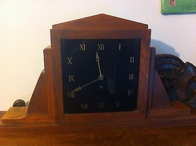 Original Art Deco Large Mantle Clock With Black Glass Dial And Rosewood Case