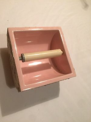Antique Toilet Paper Holder Pink Porcelain Recessed Wall Early 1900's Bath Item