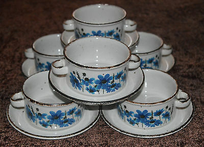 MIDWINTER Pottery Stonehenge Spring SOUP BOWLS AND SAUCERS  X 6 .....  RARE