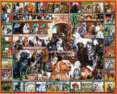 """Jigsaw Puzzle Lovable Pets 1000 Pieces 24""""X30"""" The World Of Dogs WM141"""