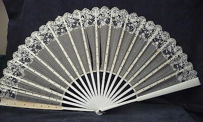 "very large vintage hand fan lace & sequins display collect 26"" 65cm"