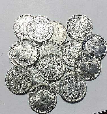1944 Netherlands 10 Cents Silver AU to UNC    COINS OF WWII