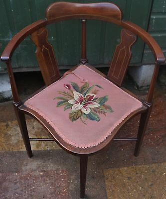 Beautiful Looking Old Wooden Inlaid Bow Backed Chair Ideal For Ladies Desk