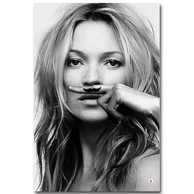 KATE MOSS POSTER - LIFE IS A JOKE - MUSTASCH Poster Black White