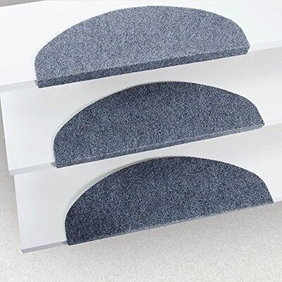 Indoor Stair Tread Mats Durable Protection Non-slip Grey 15 Piece Set Grey NEW