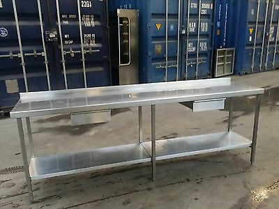 HEAVY DUTY Stainless Steel Prep Table Catering Kitchen Table - ON SOLID FRAME