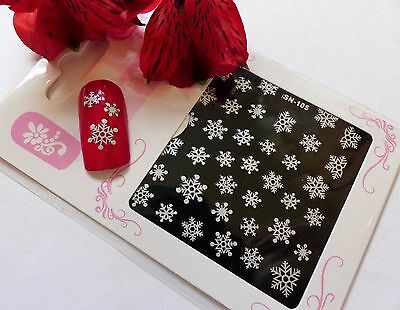 *Christmas Sparkly Silver Snowflake* 3D Glitter Nail Art Sticker Decal Xmas 105x