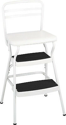 Vintage Step Stool Chair Retro Counter with Lift-up Seat Kitchen Garage Home
