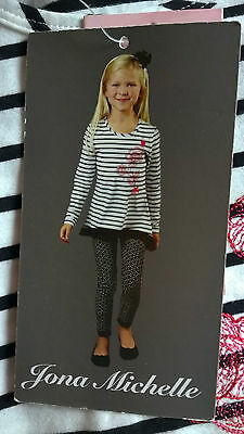 BNWT Jona Michelle girls black and while leggings and top set -AGE 5 -