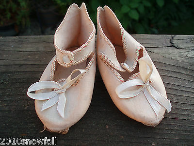 Rare Original Antique Jumeau shoes signed french doll silk size 10