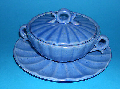 C.H.Brannam Pottery Barnstaple - Individual Serving Dish With Lid -Shell Pattern