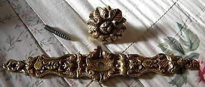 "Vintage Ornate Brass Drawer Pull 1-1/4"" and 6"" Back Plate~NOS~Stamped Portugal"