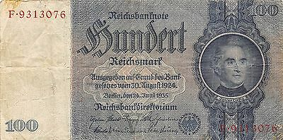 Germany 100 Reichsmark 24.6.1935  Swastika  Series F Circulated Banknote E13
