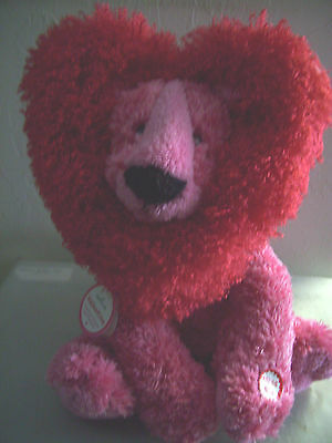 """Hallmark Animated 12"""" Red & Pink VALENTINO Lion Purrs Shakes w/ Tags"""