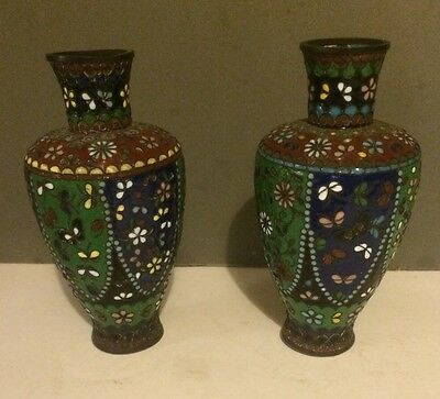 Pair Of Antique Japanese Cloisonné Cabinet Vases
