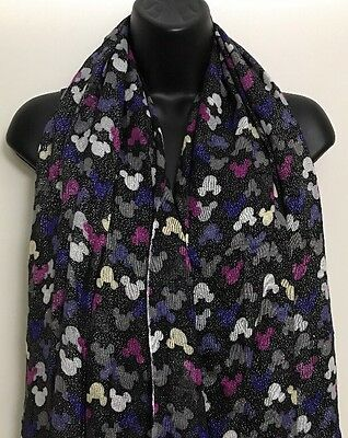 Disney Parks Black Mickey Mouse Glitter Scarf  Thin Sheer Rayon