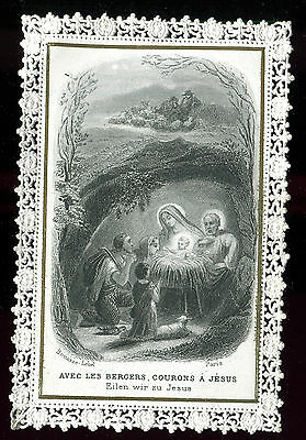 Antique Lace Holy Card Of Birth Of Jesus