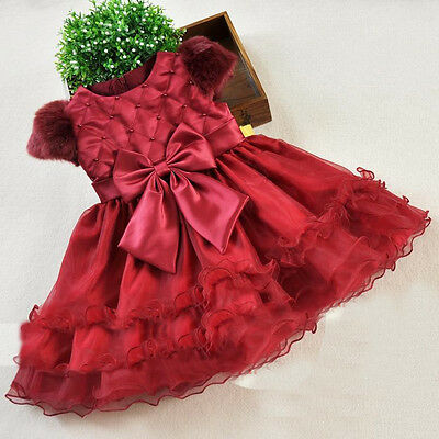 UK SELLER Girls Kids Red Christmas Xmas Dress Party Wedding Princess 3-8 Years