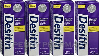 Desitin Diaper Rash Paste Maximum Strength Zinc Oxide 4oz ( 4 pack ) ***