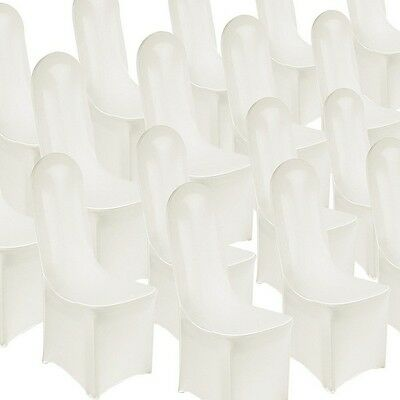 50 pieces Spandex Lycra Decoration Party Chair Covers  (Flat Front, White)