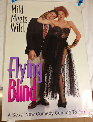 Flying Blind Fox TV Poster / vintage promotional 1992 Fox Broadcasting 27 X 40
