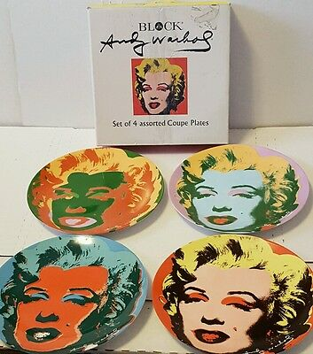 andy warhol block marilyn monroe set of 4 assorted coupe plates in box 1998 rare