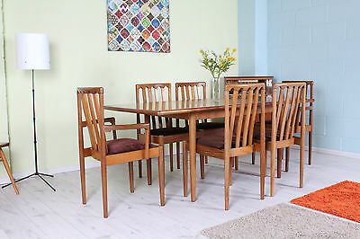 Vintage Teak Meredew Exten Table 6 Chairs Inc 2 Carvers - Can Couirier