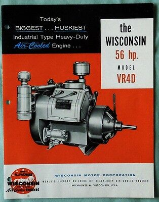 Vintage Wisconsin 56 H.p. Model Vr4D Air Cooled Engine Sales Brochure